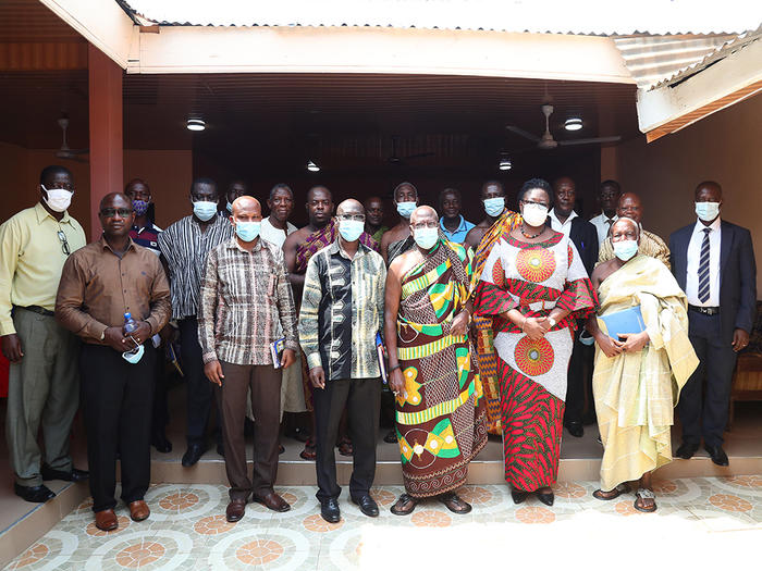 The UCC delegation with the Paramount Chief and elders of Agona Nyakrom
